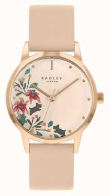 Radley Damen nackt / hellrosa Lederband | cremefarbenes Blumenzifferblatt RY21220A