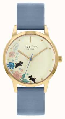 Radley Blaues Lederarmband für Damen | Champagner Zifferblatt RY21230A