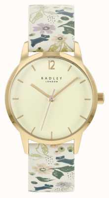 Radley Weißes Blumenlederarmband für Damen | Champagner Zifferblatt RY21232A