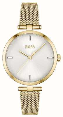 BOSS Frauen   Majestät   silbernes Zifferblatt   goldenes pvd mesh armband 1502586