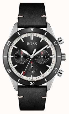 BOSS Santiago | schwarzes Zifferblatt | schwarzes Lederband 1513864