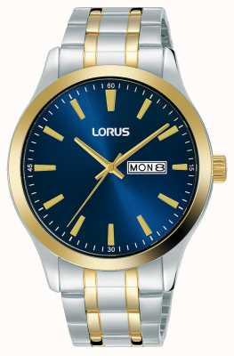 Lorus Herren | blaues Zifferblatt | zweifarbiges Edelstahlarmband RH342AX9