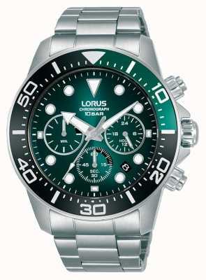 Lorus Herren Chronograph | grünes Zifferblatt | Edelstahlarmband RT341JX9