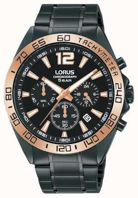 Lorus Herren | Chronograph | schwarzes Zifferblatt | schwarzes IP-Stahlarmband RT336JX9