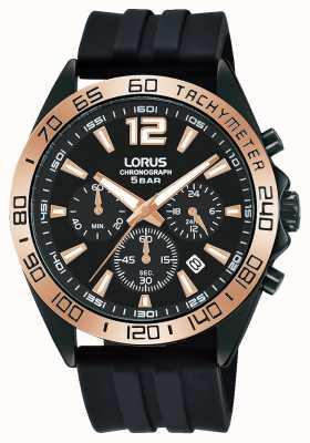Lorus Herren | Chronograph | schwarzes Zifferblatt | schwarzes Silikonband RT338JX9