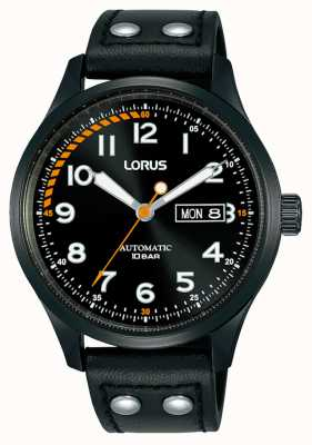 Lorus Herren | automatisch | schwarzes Zifferblatt | schwarzes Lederband RL461AX9
