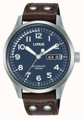 Lorus Herren | automatisch | blaues Zifferblatt | braunes Lederband RL463AX9