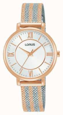Lorus Frauen | weißes Zifferblatt | zweifarbiges Netzarmband RG216TX9