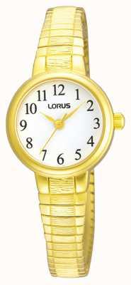 Lorus Frauen | weißes Zifferblatt | erweiterbares goldenes Edelstahlarmband RG236NX9