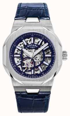 Rotary Herren | Regent | automatisch | blaues Skelettzifferblatt | blaues Lederband GS05415/05