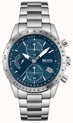 BOSS Pilotausgabe | Herren Edelstahl Armband | blaues Zifferblatt 1513850