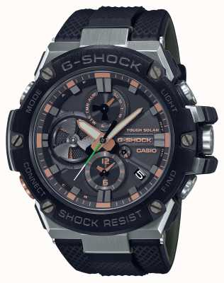 Casio G-Stahl Luxus Militär | schwarzes Harzband | schwarzes Zifferblatt | Bluetooth GST-B100GA-1AER