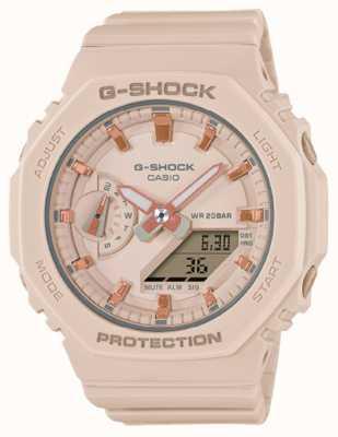 Casio Mittelgroßer G-Schock | blassrosa Harzarmband | rosa Zifferblatt GMA-S2100-4AER