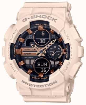 Casio G-Schock | Unisex-Sport | blassrosa Harzarmband | schwarzes Zifferblatt GMA-S140M-4AER