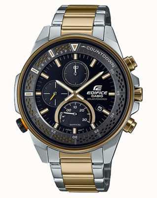 Casio Gebäude schlanker Saphir Chronograph | zweifarbiges Stahlarmband | schwarzes Zifferblatt EFS-S590SG-1AVUEF