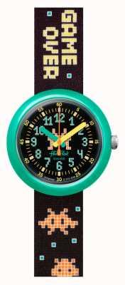 Flik Flak Time Invader | schwarzes patten stoffband | schwarzes Zifferblatt FPNP069