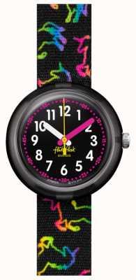 Flik Flak Disco Einhorn | mehrfarbiger schwarzer Stoff mit Einhornmuster | schwarzes Zifferblatt FPNP070