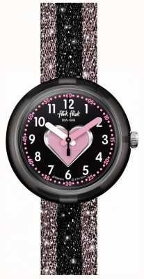 Flik Flak Cuoricino | rosa / schwarzer Textilarmband | schwarzes Zifferblatt FPNP071