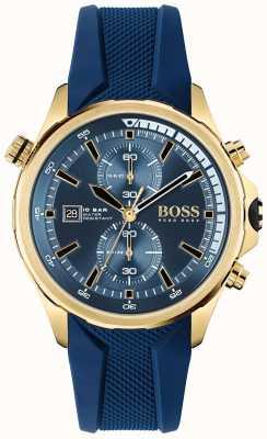 BOSS | Weltenbummler | Chronograph | blaues Zifferblatt | blaues Silikonband | 1513822