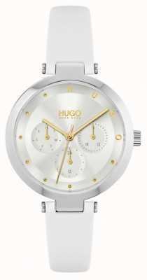 HUGO #hope | weißes Lederarmband für Damen | silbernes Zifferblatt 1540086