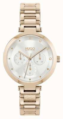 HUGO #hope multi | roségoldfarbenes Stahlarmband für Damen | silbernes Zifferblatt 1540087