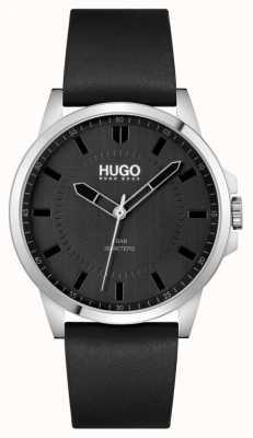 HUGO #first | schwarzes Lederarmband für Herren | schwarzes Zifferblatt 1530188