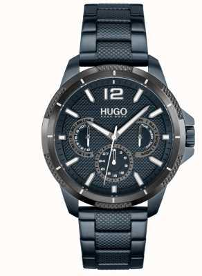 HUGO #sport | blaues IP-Stahlarmband für Herren | blaues Zifferblatt 1530194