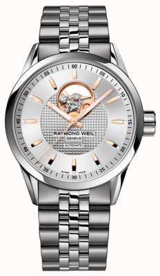 Raymond Weil Freiberufler | Herren Edelstahl Armband | silbernes Zifferblatt 2710-ST5-65021