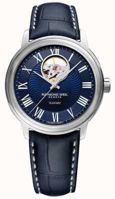 Raymond Weil Maestro | blaues Lederarmband für Herren | blaues Zifferblatt 2227-STC-00508