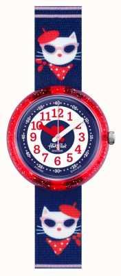 Flik Flak Catitude | blauer Stoff Cat Print Armband | blau / weißes Zifferblatt FPNP065