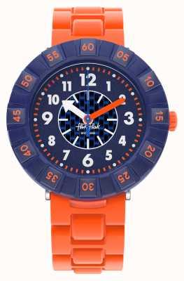Flik Flak Orangebrick | orange Silikonarmband | blaues Zifferblatt FCSP103
