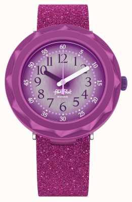 Flik Flak Purpleaxus | lila Glitzersilikonarmband | lila Zifferblatt FCSP106