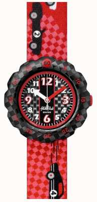 Flik Flak 3 2 1 los! | rotes Stoffband mit Rennwagenmuster | schwarzes Zifferblatt FPSP044