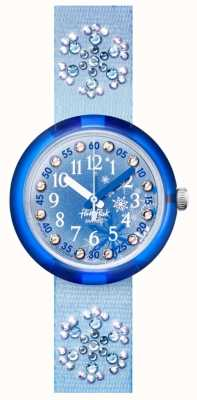 Flik Flak Frozilicious | blaues Kristall Set Stoffband | blaues Zifferblatt FPNP073