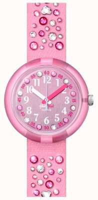 Flik Flak Millefeux | rosa Kristall Set Stoffband | rosa Zifferblatt FPNP074