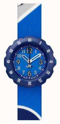 Flik Flak Kick it! | blaues stoffband mit fußballdruck | blaues Zifferblatt FPSP045