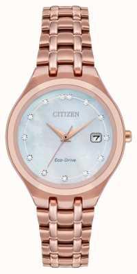 Citizen Diamantzifferblatt für Damen mit Öko-Antrieb EW2489-54D