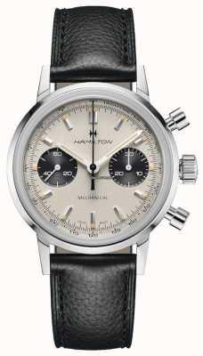 Hamilton Intramatisch - mechanischer Chronograph | schwarzes Lederband | weißes Zifferblatt H38429710