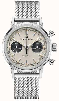 Hamilton Intramatisch - mechanischer Chronograph | silbernes Netzband | weißes Zifferblatt H38429110