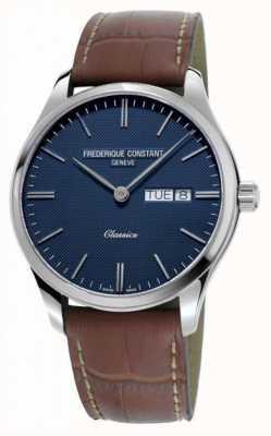 Frederique Constant Herren klassischer Quarz | braunes Lederband | blaues Zifferblatt FC-225NT5B6