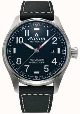 Alpina Herren Smartimer Pilot Auto | schwarzes Lederband | dunkelblaues Zifferblatt AL-525NN4S6