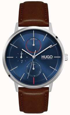 HUGO #exist | braunes Lederarmband für Herren | blaues Zifferblatt 1530201