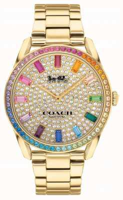 Coach Frauen Preston | vergoldetes Stahlarmband | Kristall gesetztes Zifferblatt 14503657