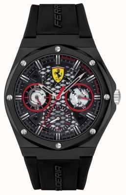 Scuderia Ferrari Streben | schwarzes Silikonband | schwarzes Zifferblatt 0830785
