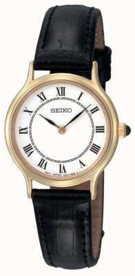 Seiko Damen weißes Zifferblatt schwarzes Lederarmband SFQ830P1 Uhr