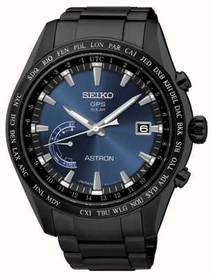 Seiko Astron GPS schwarz IP plattiert Edelstahl blau Zifferblatt SSE111J1