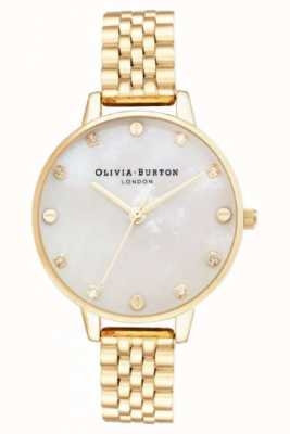 Olivia Burton Großes Zifferblatt weißes Moppgoldarmband dünnes Gehäuse OB16SE13