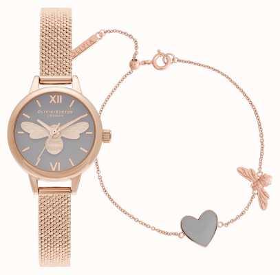 Olivia Burton | du hast mein herz | uhr & armband set | Roségold | OBGSET148