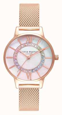 Olivia Burton Rainbow Sparkle Wonderland Roségold Mesh OB16WD95