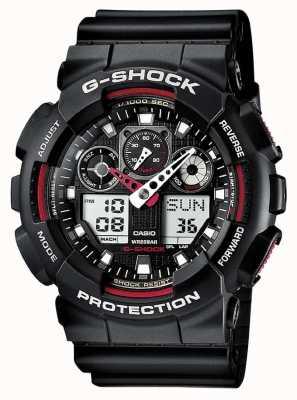 Casio G-Shock Chronograph Alarm schwarz rot GA-100-1A4ER Armbanduhr